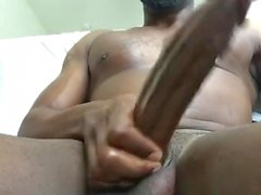 Back Again Stroking this long black dick