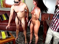 Brunette babe cuckolds her boyfriend and ties him up so he has to watch
