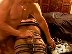 CBT Precum streams from electro stim to my hot young bottom's balls