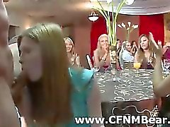 CFNM girls suck stripper cock at party