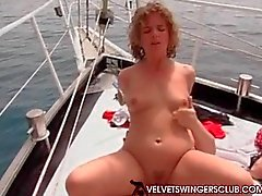 Velvet Swingers club boat gangbang party