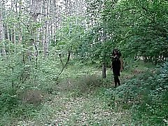 crossdresser in the woods