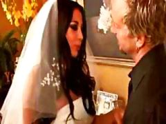 Busty brunette Audrey Bitoni plays bride and fucks the best man