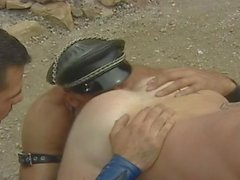 Hairy leather threesome fucking outdoor