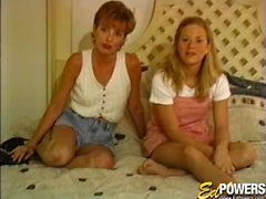 Two cute vintage teens have threesome with casting agent