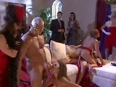 Masked maidens Alanah Rae and Kiera King are watched as they put on a fuck fest