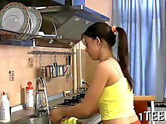 Russian teen gets banged all over her kitchen
