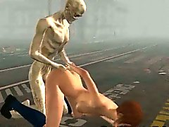3D redhead babe gets fucked by a zombie outdoors