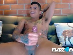 Thony King on Flirt4Free - Tatted Toned Latin Stud Tugs Big Cock Two Hands