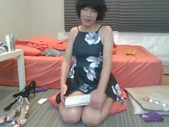 Innocent little asian tgirl plays with many sex toys