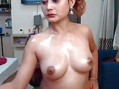 hot indian cam girl oiling her body