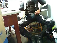 Mx leather match wank and shoes and inside