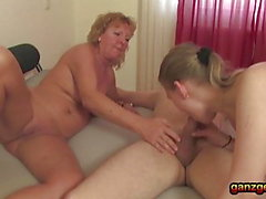 Nasty threesome with 2 old German cougars Amateur sex only