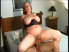 Chunky brunette Alice Cortesi with huge melons eats his man meat then gets nailed
