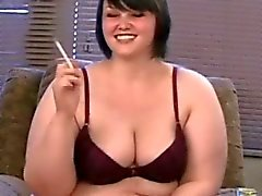 Obese cutie Milla is fully naked and smoking