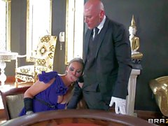 Glamorous Abbey Brooks pleasures Johnny Sins on gambling table