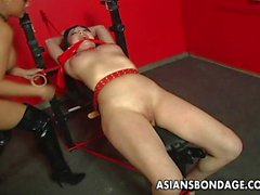 Tied up Asian slut has a finger fucking bdsm sessi
