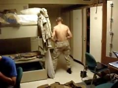 Str8 Army Guy Stiptease in the Barracks