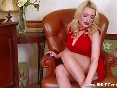 Blonde big tits Penny Lee strips to crotchless nude pantyhose red stilettos for you to wank over
