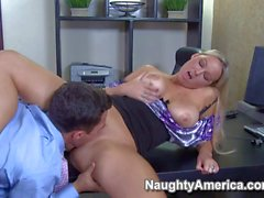 Chesty blonde Abbey Brooks gets slammed at the office