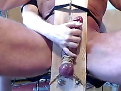 Me milk edge tease hung stud in milking chair