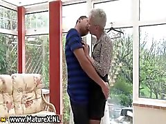 Horny shorthaired old mom enjoys part5