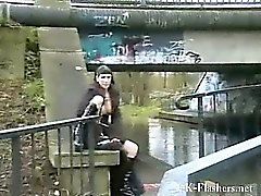 Tattooed alternative punks public flashing and outdoor