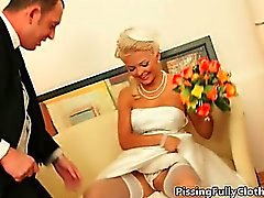 Horny blonde bride gets her pussy sucked