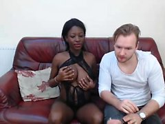 Ebony amateur fucks and sucks his white cock and loves it