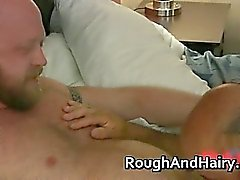 Chubby hairy gay dude has great sex