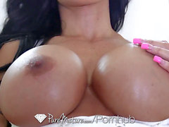 PureMature huge-boobed cougar pleasure buttons Jade tight asshole fuck and facial