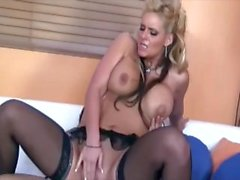 Busty blonde fucking on a couch in black stockings and a garter belt