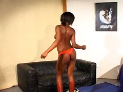 Small breasted ebony teen loving white cock