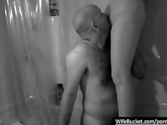Curvy wife getting her mouth fucked in the shower