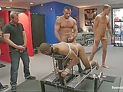 Gay hunk gets tied up and fucked