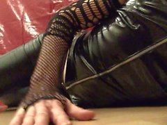 Feeling horny in black leather, pvc, fishnets and pantyhose