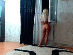 Blondes striptease and masturbation solo