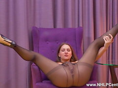 Teen Ellen Betsy masturbates in sheer black nylon pantyhose