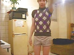 Crazy crossdresser has a fun