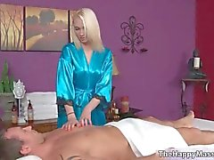 Hot blonde babe gets horny giving a massage