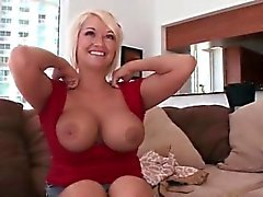 Hot mom plays with her big tits and pussy