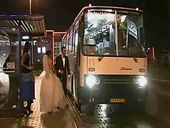 Group sex with a bride in a bus
