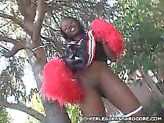 Ebony Cheerleader Cock Crammed