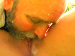 Young chick sucks and bonks an older guy passionately