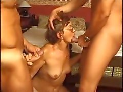 Granny in Glasses Likes Two Cocks