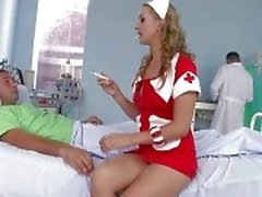 Beautiful nurse riding two cocks