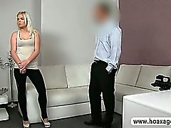 Cute sex kitten Sally fucked and facialed on her casting