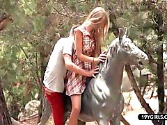 Pretty horny teen romantically fingered in public outdoors