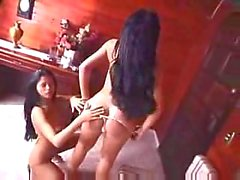 Longhaired shemale and chick make a guy crazy