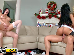 BANGBROS - ass Parade Xmas off the hook with Abella Anderson & Rebeca Linares